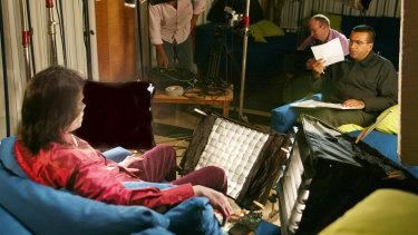 Martin Bashir filming an interview with Michael Jackson.
