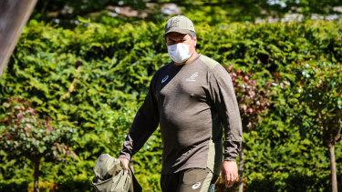 Wallabies coach Dave Rennie takes a stroll in the garden of the team's quarantine base in Christchurch.
