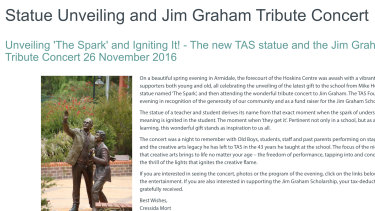 A page on the school's website paying tribute to Desmond Lyle 'Jim' Graham that was later pulled offline.