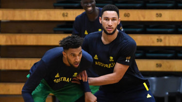 Ben Simmons (right) challenging Johan Bolden at Boomers training on Saturday.