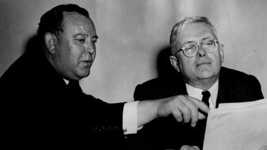 UN Secretary-General Trygve Lie and the elected UN President, Australia's Dr H.V. Evatt, at a UN meeting in Paris on October 7, 1948.