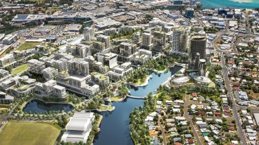 An artist's impression of Maroochydore's futuristic new central business district in 15 years' time.
