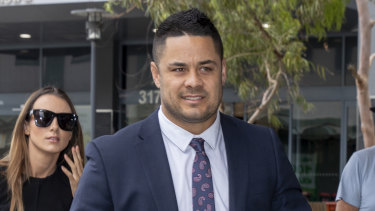 Jarryd Hayne outside court during his trial.