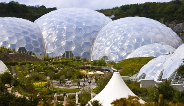 Three biomes of the Eden Project, the largest greenhouses in the world.
