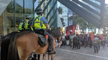Protesters met with a very heavy police presence - officers on foot, bikes and horses, and the Regional Operations Group.