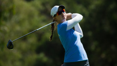 Katja Pogacar took the lead in the second round of the Canberra Classic at Royal Canberra.