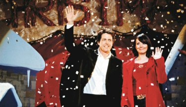 Hugh Grant, as the British Prime Minister, and Martine McCutcheon, as his tea lady/love interest, in a scene from the film  Love, Actually.