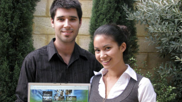 Cliff Obrecht and Melanie Perkins in the early days of Fusion Books.