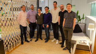 The Omny Studio team from left to right: David Warner, Andrew Armstrong, Sharon Taylor, Long Zheng, Matt Stafford, Michael Davidson, and Mitch Secrett.