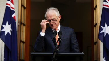 Malcolm Turnbull steps down as prime minister.