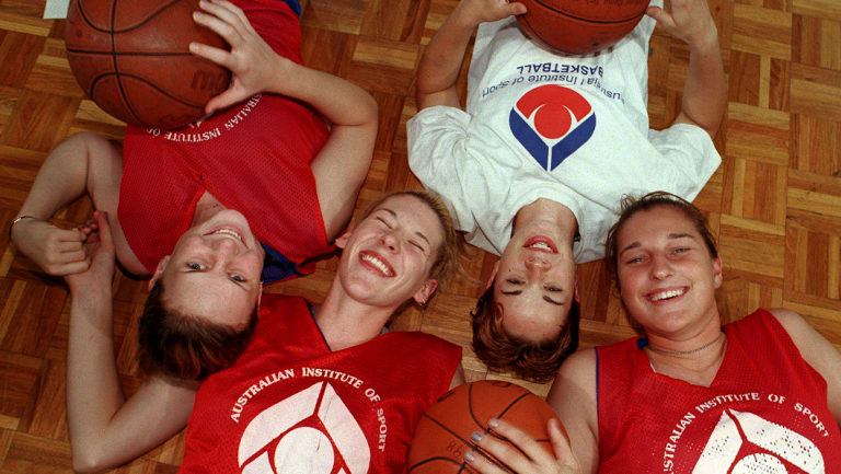 Lauren Jackson, pictured with Penny Taylor, Kristen Veal and Suzy Batkovic, moved to Canberra as a teenager.