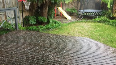 Morning hail in Melbourne'snorth east.