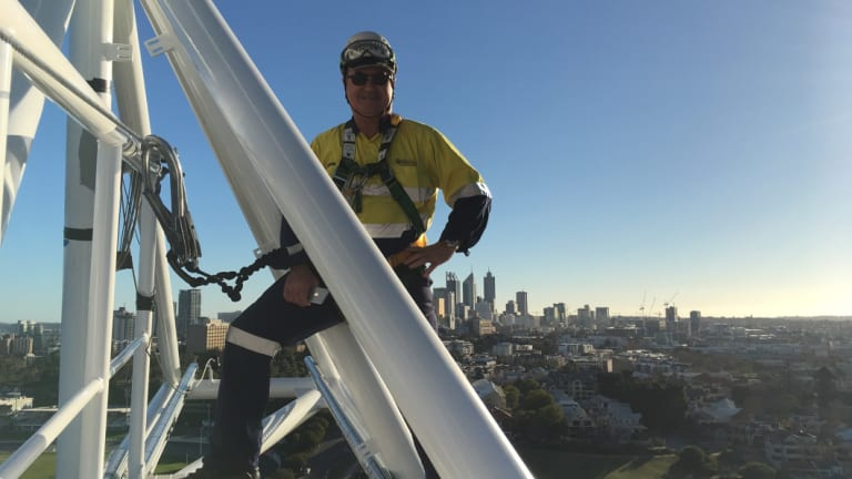 Saferight founder and director Mack McCormack on the Matagarup Bridge.