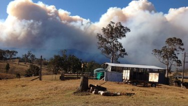 An out-of-control fire burns in a national park at Bemboka earlier this week.