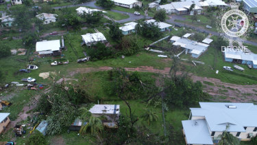 A drone image from Lockhart River, the area worst-hit by Cyclone Trevor.