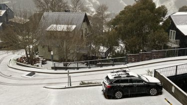 Snow falls in Thredbo.