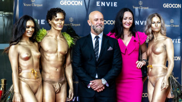 Geocon managing director Nick Georgalis and marketing director Melanie Hindson on the red carpet at the Envie launch.