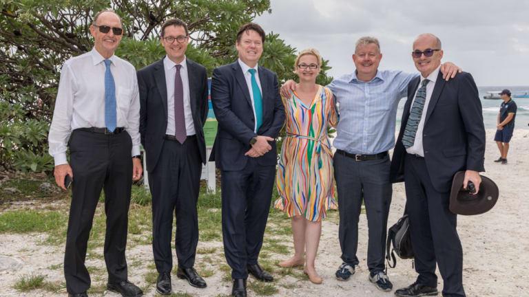 Great Barrier Reef Foundation board members (from left) John Schubert, Geoff Healy, Steve McCann, Anna Marsden, Russell Reichelt and Ove Hoegh-Guldberg at Lady Elliot Island.