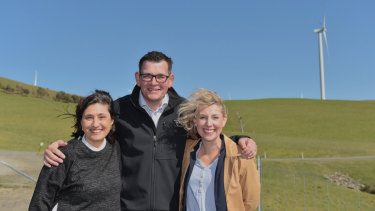 Lily D'Ambrosio,  Daniel Andrews and Sarah De Santis in Ararat to announce a renewable energy auction.