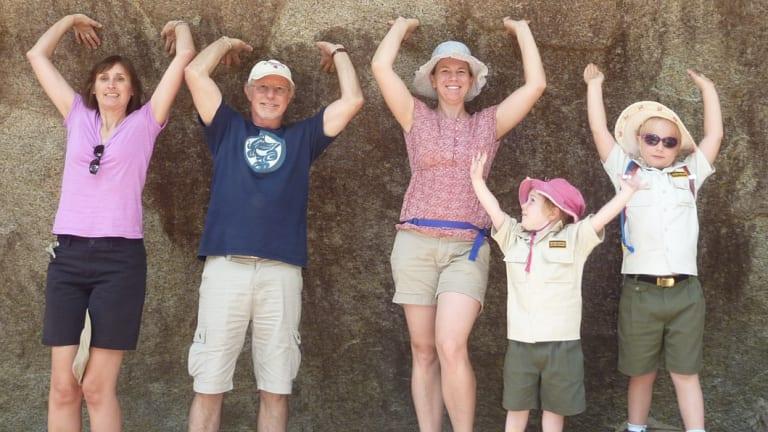 """""""Holding up"""" Hanging Rock at Tidbinbilla."""