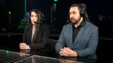 Commentators Helen Browitt and Leigh Mandalov call a StarCraft II match.