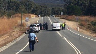Police on Oakdale Road on Monday.