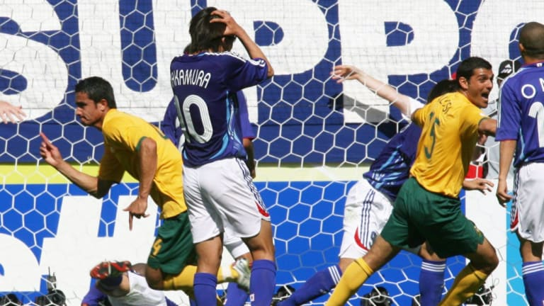 First time: Tim Cahill (left) reacts to scoring Australia's first World Cup goal, against Japan in 2006.