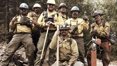 RFS fire fighter Daniel Barwick, third from left, with colleagues in Washington state.