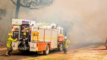 Firefighters working to control a bushfire in Deepwater, central Queensland, in November 2018.