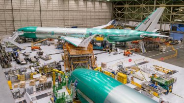 Boeing's first 777X-9, under construction in its factory in  Everett, Washington. The aircraft will take to the air for the first time in 2019.