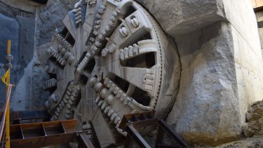 A tunnel boring machine on the Perth airport link project.