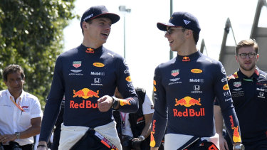 Verstappen with new Red Bull teammate Pierre Gasly in Melbourne.