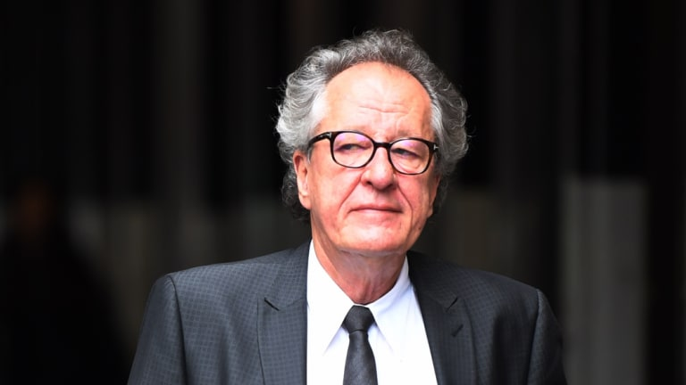Geoffrey Rush arrives at the Federal Court in Sydney on Wednesday.