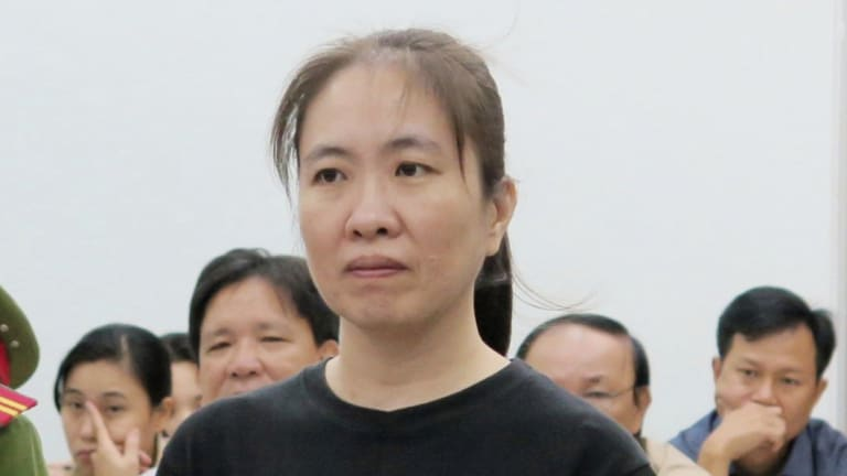 Nguyen Ngoc Nhu Quynh,, a prominent Vietnamese blogger, stands trial in the south-central province of Khanh Hoa, Vietnam in 2017.