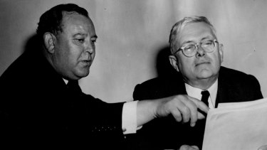 UN Secretary-General Trygve Lie and the elected UN President, Australia's Dr H.V. Evatt, at a UN meeting in Paris on October 7, 1948.