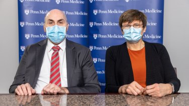 Dr. Drew Weissman and Dr. Katalin Karikó – the pair of scientists whose messenger RNA discovery at the University of Pennsylvania helped pave the way for the COVID-19 vaccines.