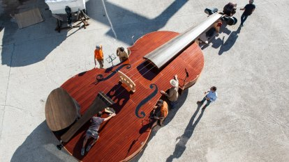 A giant violin floats down Venice's Grand Canal