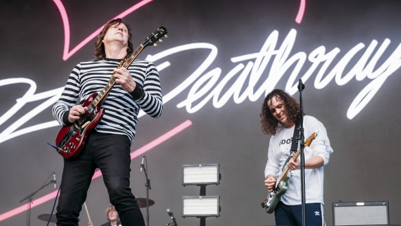 Red Wiggle Murray Cook joins DZ Deathrays on stage at Splendour in the Grass