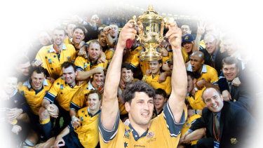 The Wallabies following their victory over France in the 1999, Inset Captain John Eales Raises The William Webb Ellis Trophy
