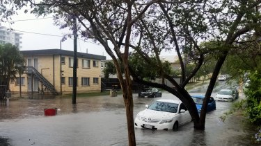 Flash flooding on Chermside's Hall Street on Tuesday afternoon.
