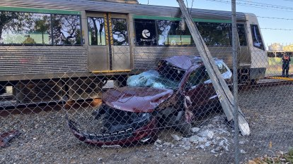 Commuter delays expected after train crashes into parked car in Perth's east