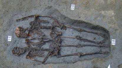 Hand-holding 'Lovers of Modena' skeletons are male
