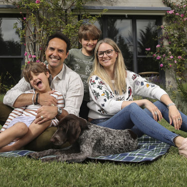 Massimo and Millie Di Maio with their children, Leo and Luca and their dog, Tilly, at their rural property in Jembaicumbene, near Braidwood.