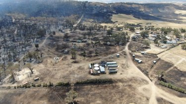 An aerial view of the festival grounds after Friday's fire near Lexton.