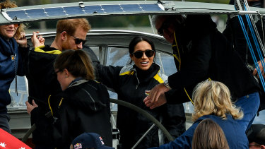 The Duchess and Duke of Sussex sail on Sydney Harbour during the Invictus Games.