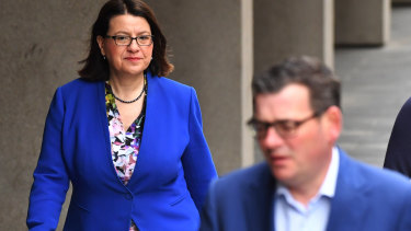 Victorian Health Minister Jenny Mikakos and Premier Daniel Andrews on July 3.