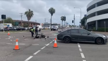 The aftermath of the crash involving Townsville Mayor Jenny Hill.