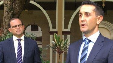 LNP leader David Crisafulli (right) and his deputy, David Janetzki, in Brisbane.