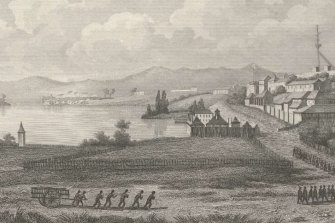An 1854 engraving of the penal establishment at Port Arthur, with Point Puer visible in the distance.