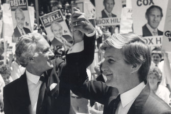 Andrew Peacock and Jeff Kennett on the campaign trail, May 15, 1985.